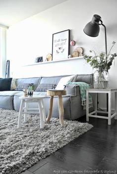gray couch, white walls, photo shelf & textured carpet