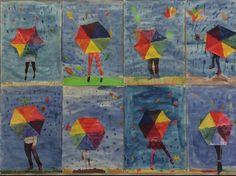 Päävärit: sateenvarjo vesiväreillä, jalat aikakausilehdestä. Facebook: Alakoulun aarreaitta (Merja Keinonen)