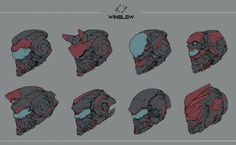 Winslow helmet, Ching Yeh on ArtStation at Robot Design, Helmet Design, Mask Design, Futuristic Helmet, Futuristic Armour, Arte Ninja, Arte Robot, Robot Concept Art, Armor Concept
