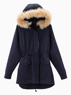 16a800776654 Navy Blue Polka Dots Parka With With Faux Fur Trim Hood