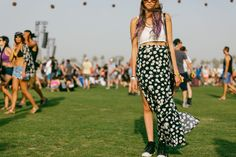 Festival Style at Coachella. Floral maxi skirt and crop top