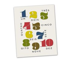 Portuguese Numbers Nursery Art Download  nursery decor by DropPin, $5.00