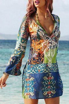 Fashionable Plunging Neck Long Sleeve Colorful Printed Chiffon Dress For Women