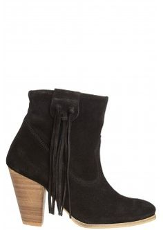Marci Suede Fringe Bootie in Black t Calypso St. Barth in Market Street - The Woodlands