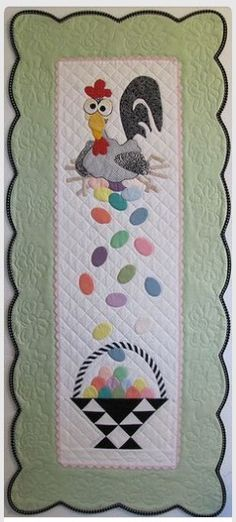 Esther the Easter Chicken Table Runner or Wall Hanging Pattern - PDF Version Table Runner And Placemats, Quilted Table Runners, Hand Applique, Applique Quilts, Small Quilts, Mini Quilts, Quilting Projects, Sewing Projects, Diy Quilt