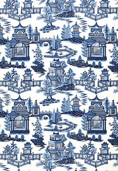 Schumacher Chinoiserie Paper Nanjing 174431 Porcelain Blue Willow China Art