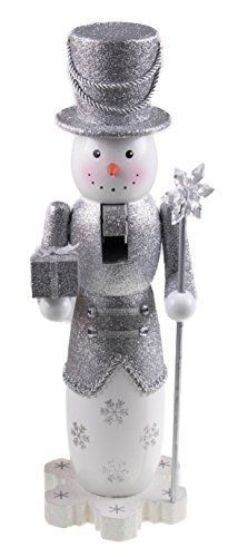 Wooden Glittery Silver Snowman Nutcracker with Gift and Snowflake Scepter  14 Tall * Read more reviews of the product by visiting the link on the image.