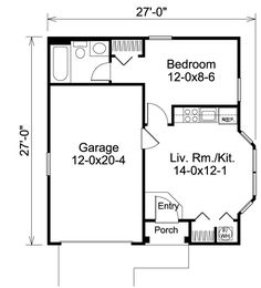 1 bedroom apartment floor plans 500 sf du apartments for Small single car garage dimensions