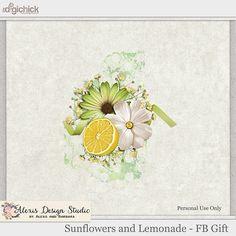 Alexis Design Studio: Sunflowers and Lemonade and Sunday Freebie! Digital Scrapbooking Freebies, Digital Backgrounds, Journal Cards, Sunflowers, Lemonade, Overlays, Sunday, Texture, Stitch