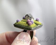 "Ring ""Lilac Garden"" - miniatuur polymeer klei.  Evgeny Alexandrov."