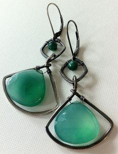 Green onyx and emerald fan earrings | by anikosandor