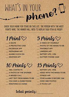 Whats In Your Phone Baby Shower Game Whats In Your Phone Rustic Baby Shower Kraft Paper Game Woodland Baby Shower Baby Shower Activity Printable Bridal Shower Games, Baby Shower Printables, Printable Party, Free Printable, Wedding Games, Diy Wedding, Bridal Ahower Games, Trendy Wedding, Couples Wedding Shower Games