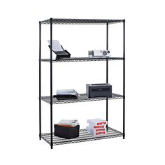 Wherever you need extra storage space, add the Trinity 4 Tier Wire Shelving Rack - x x in. This four-tier rack is perfect to use as. Steel Shelving Unit, Shelving Racks, Wire Shelving, Storage Rack, Shelves In Bedroom, Bedroom Wall, Extra Storage Space, Storage Spaces, Basement Renovations
