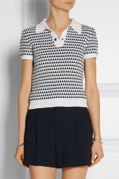 Well, would you lookit that! This polo shirt from Miu Miu is indeed crocheted -- spike stitch!