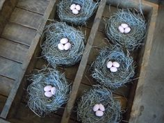 Bird Nests Shabby Chic Romantic Spring Woodland Wedding Decor Handmade with Pale Pink Eggs Set of 6 by AMarigoldLife on Etsy