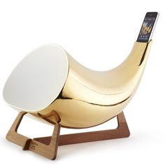 Gold Megaphone iPhone amplifier. Made in the Italian city of Nove, a region famous for its ceramic works, each Megaphone is crafted by hand.