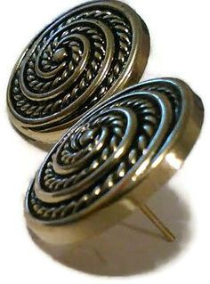 vintage brass post button earrings by CRAZYBUTTONDESIGNS13 on Etsy, $3.00