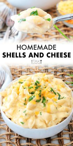 Homemade Shells and Cheese is so much easier than you think! It's comes together quickly on the stovetop, and is so much better than anything you could get from the box. It's a yummy kid-friend dinner option, and a great side dish for BBQ's, family gatherings, and big holiday dinners! A terrific choice for feeding a crowd! Macaroni Recipes, Mac Cheese Recipes, Easy Pasta Recipes, Side Dish Recipes, Italian Recipes, New Recipes, Vegetarian Recipes, Italian Foods, Italian Cooking