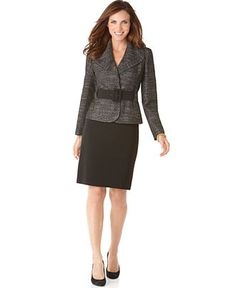 What a great skirt suit! Remember, skirts should fall at or below the knee.  Nylons that match your skin tone are a MUST for interviews and at work, unless the dress code states otherwise.