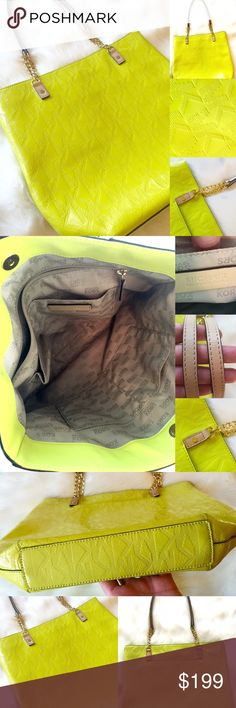 """🎀 MICHAEL KORS 🎀 Yellow Patent Neon Tote Bag Beautiful and bright statement MICHAEL KORS  tote!  ❤️❤️❤️. Gold chain!  Nude handle.  Gorgeous LARGE tote!  Snap closure and multiple pockets!  Clean interior!  Sizing at widest points:  15"""" Wide & 13"""" Tall.  Excellent pre-loved condition!  GORGEOUS!!!  💗💕 Michael Kors Bags Totes"""