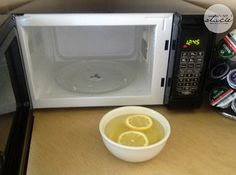 Easily clean your microwave with a little vinegar and lemon.   28 Clever Ways To Deep Clean Your Tiny Apartment