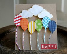 colourful patterned balloons, white clouds, funny things to write in a birthday card, wooden table Diy Birthday, Happy Birthday Cards, Birthday Ideas, Homemade Birthday, Rainbow Birthday, Tarjetas Diy, Paper Crafts, Diy Crafts, Birthday Balloons