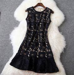 Soluble Flower Embroidery Slim Retro Dress