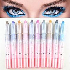10pcs 2in1 stylo ombre colorée de l'oeil de miroitement éblouissant&ensemble eyeliner – EUR € 6.99