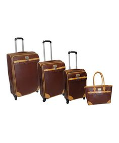 a4cd998237b41 Adrienne Vittadini Brown   Tan Four-Piece Luggage Set. Travel ToteTravel ...