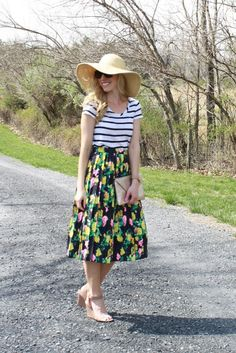 Striped tee & floral midi skirt