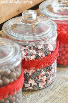 treat ideas for sock monkey birthday party - will use mason jars instead :)