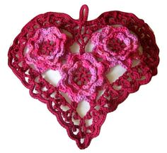 RSS Designs In Fiber Hand-Crocheted this Irish Crochet Lace Heart in 100% Cotton Yarn: 3-dimensional Cherry Pink Roses in a Burgundy Red Lace Heart.  Big enough to be a Decorative Heart Wall Hanging - - or Hang on a Bulletin Board - - or Framed for a Wall   - or use as a Centerpiece on a Table -   - or use as a Pillow Top - sew it on some Clothing or Linens or Crocheted in a Blanket....   This Hand-Crocheted Heart is:   - Approximately 13 1/4 inches at the widest point  - Approximately 1...