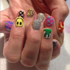 Mix and Match Pop Art nails for Teresa! Inspired by her 2 year old daughter, Emma 😃 (at Hey Nice Nails) Edgy Nails, Aycrlic Nails, Grunge Nails, Funky Nails, Stylish Nails, Swag Nails, Funky Nail Art, Nail Design Stiletto, Nail Design Glitter