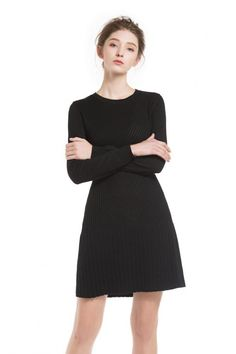 Knitbest Women's Round Neck Long Sleeve Cotton Knit Pointell Dress Knit Sweater Dress, Jumper, Knitwear, Dresses For Work, Knitting, Long Sleeve, Sleeves, Sweaters, Cotton