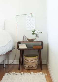 Mid Century Modern nightstand styling.