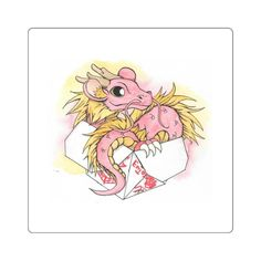 Cute Watercolor sticker of a Chinese Dragon finding a comfy Chinese take out box to nest in.