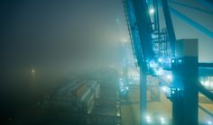 Container (II) by Jakob Wagner #photography, #color, #blur, #light, #night, #port, #industrial, #container, #transportation, #ship, #navy