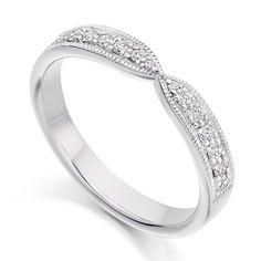 9ct white gold wishbone shaped ring featuring diamond set detailing