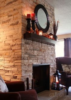 Brick to Stone Fireplace Makover by dining delight, via Flickr used VersaStone. Similar idea to Airstone. by ruby
