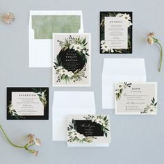 White wedding invitation with a greenery botanical ring. White wedding invitation with a greenery botanical ring. Wedding Invitation Wording, Elegant Wedding Invitations, Wedding Programs, Wedding Stationery, Invitation Set, Invites, Outdoor Wedding Inspiration, Wedding Ideas, Rustic Wedding