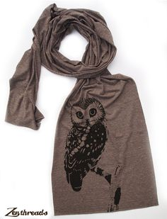 OWL Scarf  Unisex Long Vintage Soft Tri Blend Jersey by ZenThreads, $18.00