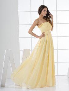 Daffodil Chiffon A-line Strapless Floor Length Bridesmaid Dress $82.99