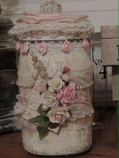 pink n white flowers on jar