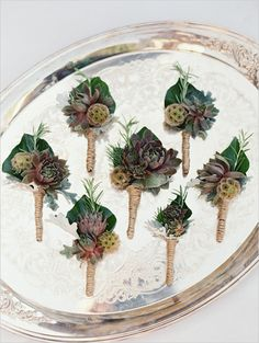 rustic boutonniere with succulent #groom #boutonniere #weddingchicks http://www.weddingchicks.com/2014/02/20/beautiful-oregon-wedding/