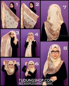 Hijab tutorial- love the glasses too. So hijabi chique Square Hijab Tutorial, Simple Hijab Tutorial, Hijab Simple, Hijab Style Tutorial, Scarf Tutorial, Turban Hijab, Hijab Dress, Hijab Outfit, Islamic Fashion