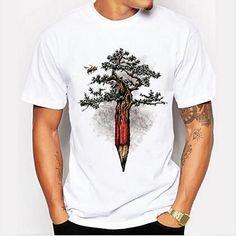 T Shirt Painting, Tee T Shirt, Men Shirt, Herren T Shirt, Printed Shorts, Casual Tops, Shirt Designs, Pencil Design, Natural Man