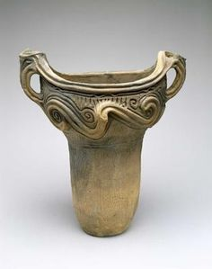 "JAPANESE Pot with Whorl Design c. 3000–2000 BC Earthenware . This pot dates to the middle of the Jomon period (c. 3000–2000 BC), which was Japan's Neolithic era. Jomon translates to ""vines or cords,"" and the period gets its name from the swirling decorative motifs often found on earthenware storage and cooking vessels produced during that time. MFAH 