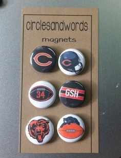 CHICAGO BEARS 6 Piece Kitchen Magnet Set by circlesandwords, $6.00