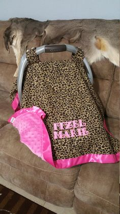 Carseat Canopy Leopard Pink Carseat Tent Cheetah Hot by ShaysStore