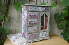 Shabby Chic Jewelry Box Armoire Decoupage by TheVintageArtistry, $120.00